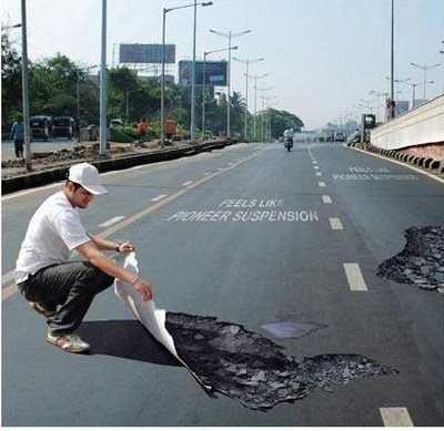 fake potholes3 - Ilusi Optik, Bila Mata Pun Menipu
